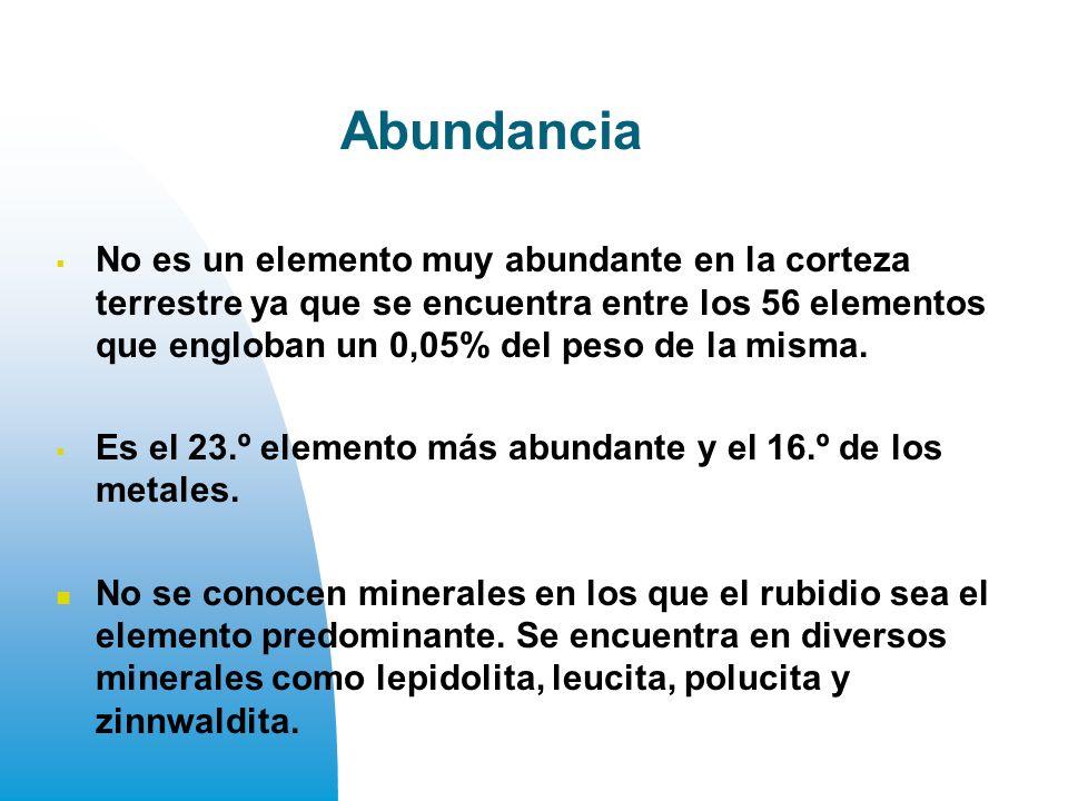 Abundancia No es un elemento muy abundante en la corteza terrestre ya que se encuentra entre los 56 elementos que engloban un 0,05% del peso de la misma.