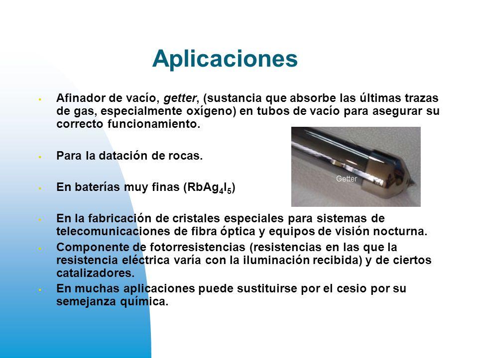 Aplicaciones Afinador de vacío, getter, (sustancia que absorbe las últimas trazas de gas, especialmente oxígeno) en tubos de vacío para asegurar su correcto funcionamiento.