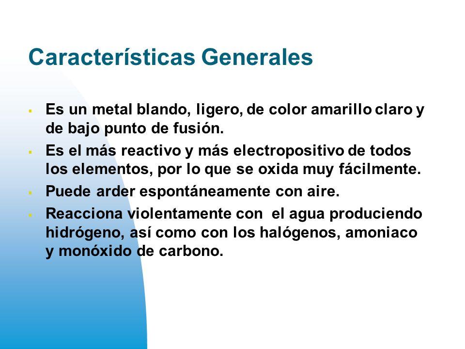 Características Generales Es un metal blando, ligero, de color amarillo claro y de bajo punto de fusión.