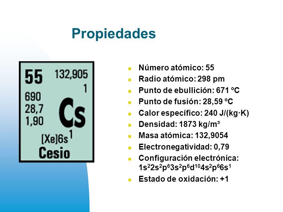 Propiedades Número atómico: 55 Radio atómico: 298 pm Punto de ebullición: 671 ºC Punto de fusión: 28,59 ºC Calor específico: 240 J/(kg·K) Densidad: 1873 kg/m³ Masa atómica: 132,9054 Electronegatividad: 0,79 Configuración electrónica: 1s 2 2s 2 p 6 3s 2 p 6 d 10 4s 2 p 6 6s 1 Estado de oxidación: +1