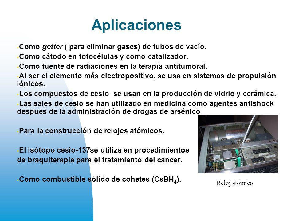 Aplicaciones Como getter ( para eliminar gases) de tubos de vacío.