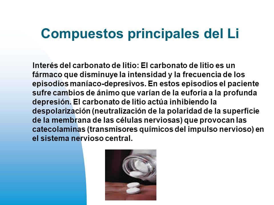 Compuestos principales del Li Interés del carbonato de litio: El carbonato de litio es un fármaco que disminuye la intensidad y la frecuencia de los episodios maníaco-depresivos.