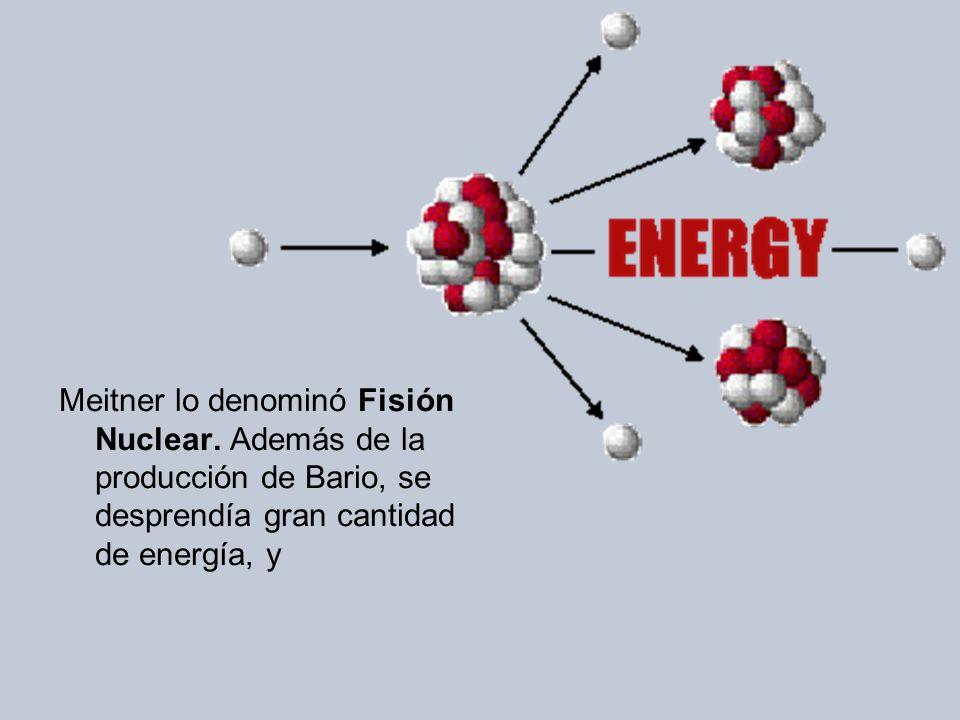 Meitner lo denominó Fisión Nuclear.