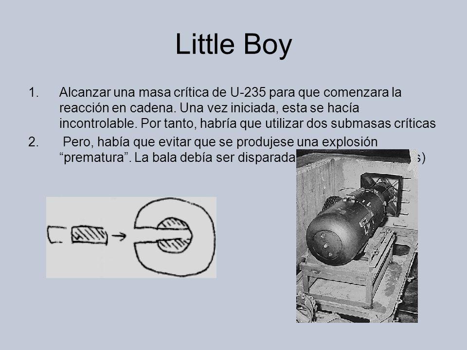 Little Boy 1.Alcanzar una masa crítica de U-235 para que comenzara la reacción en cadena.