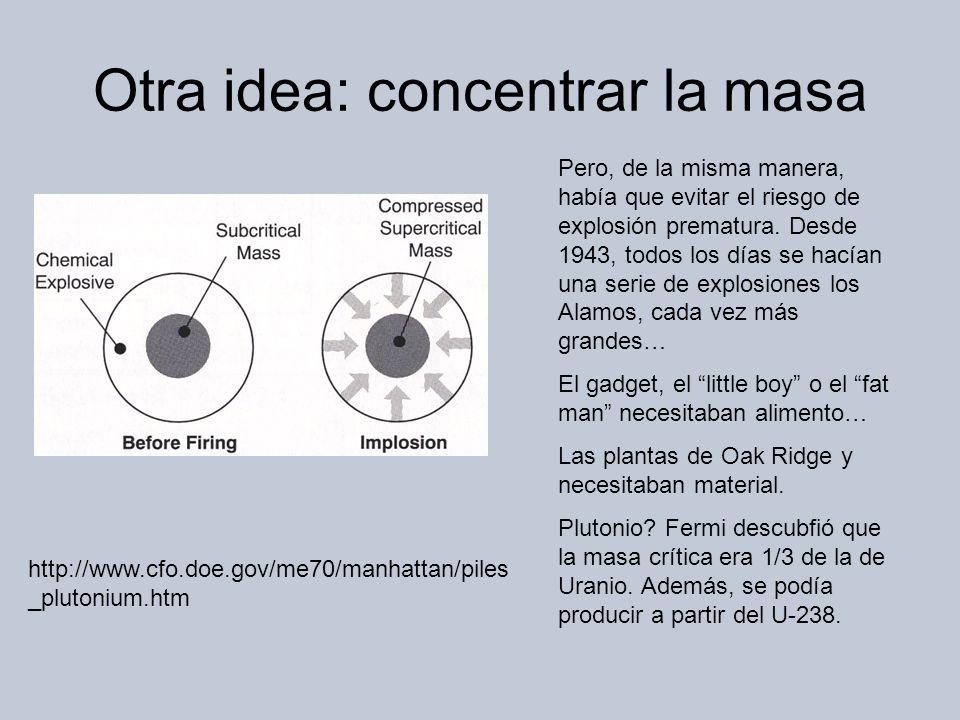 Otra idea: concentrar la masa Pero, de la misma manera, había que evitar el riesgo de explosión prematura.