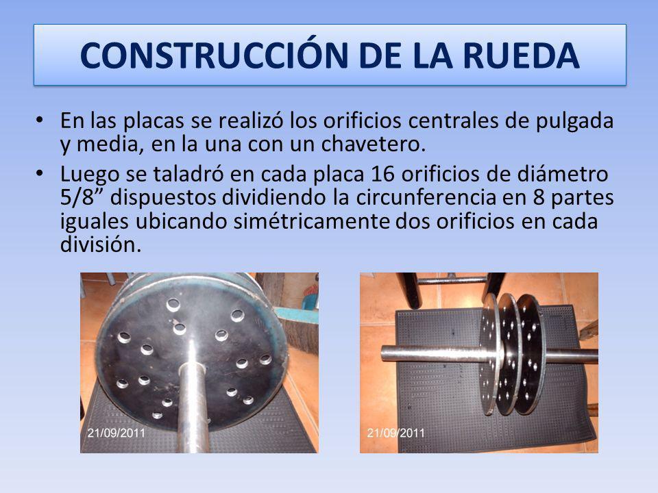 CONSTRUCCIÓN DE LA RUEDA Se utilizó entonces un eje de acero 1030 al frio de pulgada y media de diámetro y 23,6 pulgadas de longitud. A este eje, medi