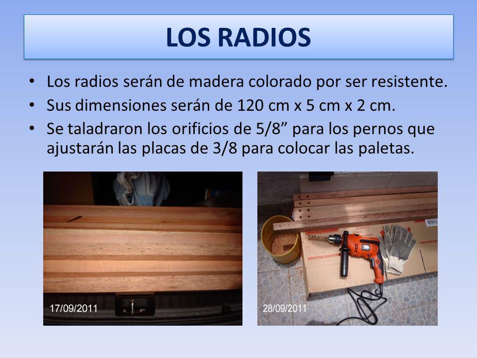 SOPORTE DE LOS RADIOS Se colocaron las placas en el eje con una separación de pulgada y cuarto, que será la medida del ancho de los radios para formar