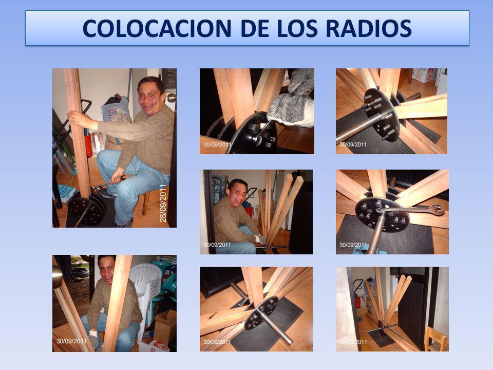LOS RADIOS Los radios serán de madera colorado por ser resistente. Sus dimensiones serán de 120 cm x 5 cm x 2 cm. Se taladraron los orificios de 5/8 p