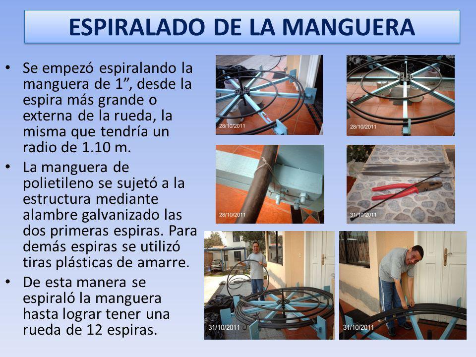 ESPIRALES DE MANGUERA DE POLIETILENO Se colocaron dos espiras de manguera de polietileno, una a cada lado de la rueda y sujeta a los respectivos radio