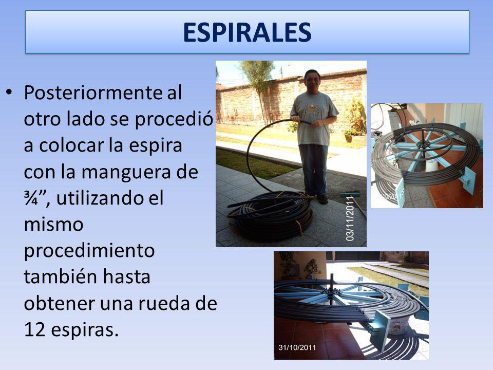 ESPIRALADO DE LA MANGUERA Se empezó espiralando la manguera de 1, desde la espira más grande o externa de la rueda, la misma que tendría un radio de 1