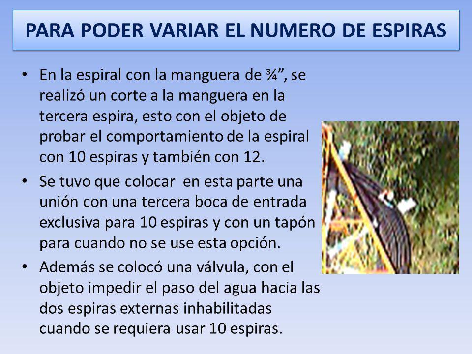BOCA DE ENTRADA DE CADA ESPIRA En cada espiral, en el extremo de la espira externa de la manguera enrollada, se colocó mediante juntas para mangueras