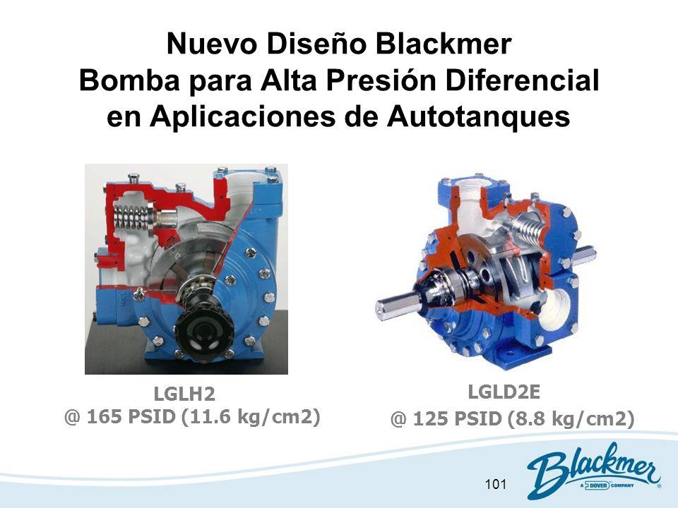 101 Nuevo Diseño Blackmer Bomba para Alta Presión Diferencial en Aplicaciones de Autotanques LGLH2 @ 165 PSID (11.6 kg/cm2) LGLD2E @ 125 PSID (8.8 kg/