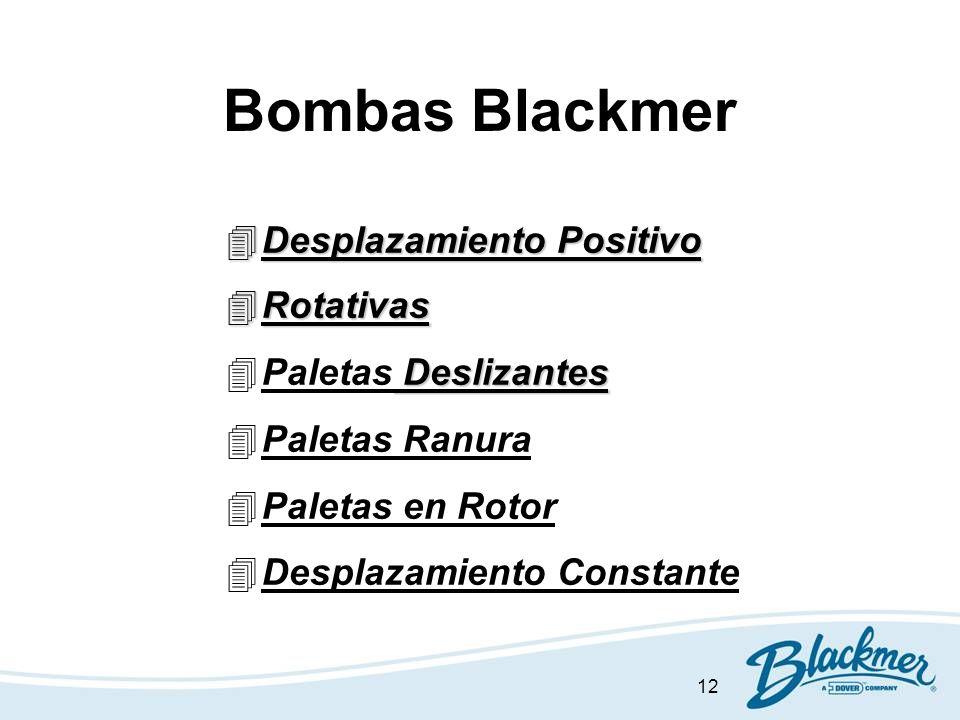 12 Bombas Blackmer 4Desplazamiento Positivo 4Rotativas Deslizantes 4Paletas Deslizantes 4Paletas Ranura 4Paletas en Rotor 4Desplazamiento Constante