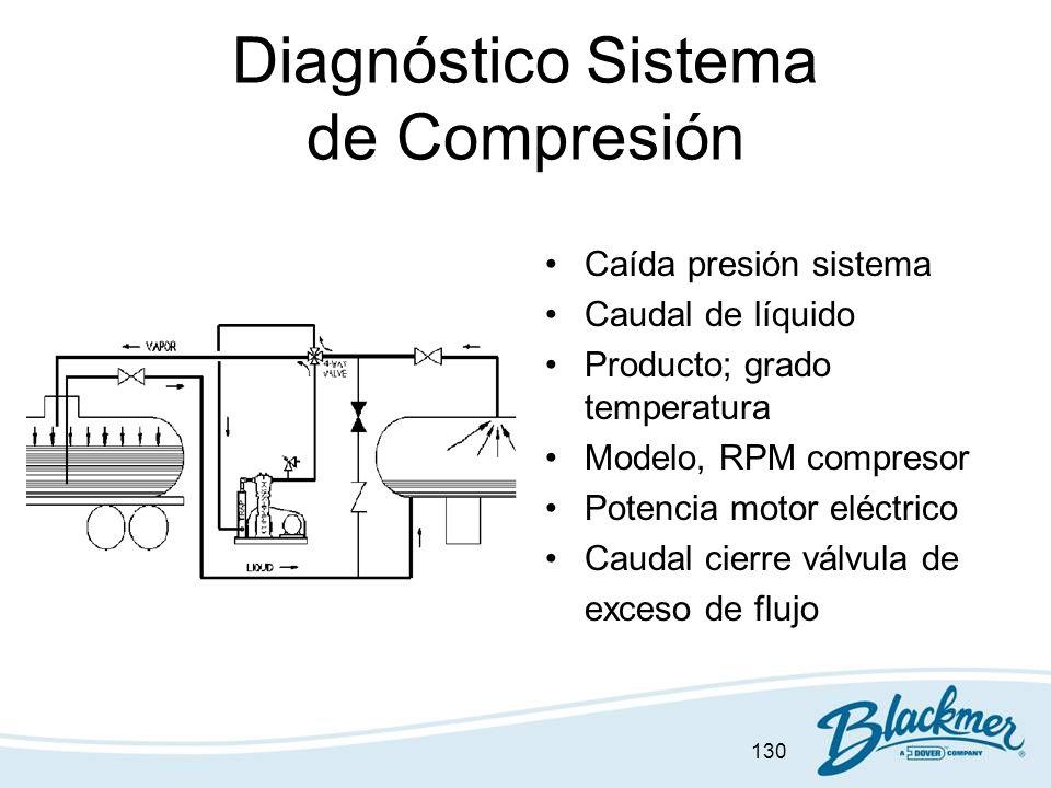 130 Diagnóstico Sistema de Compresión Caída presión sistema Caudal de líquido Producto; grado temperatura Modelo, RPM compresor Potencia motor eléctri