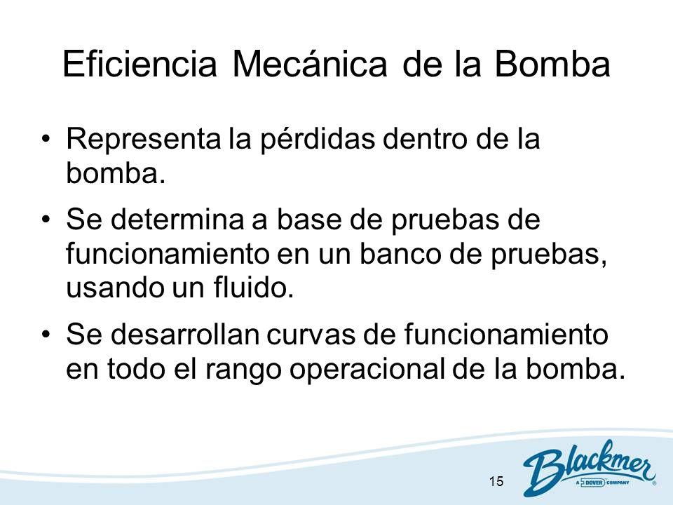 15 Eficiencia Mecánica de la Bomba Representa la pérdidas dentro de la bomba. Se determina a base de pruebas de funcionamiento en un banco de pruebas,