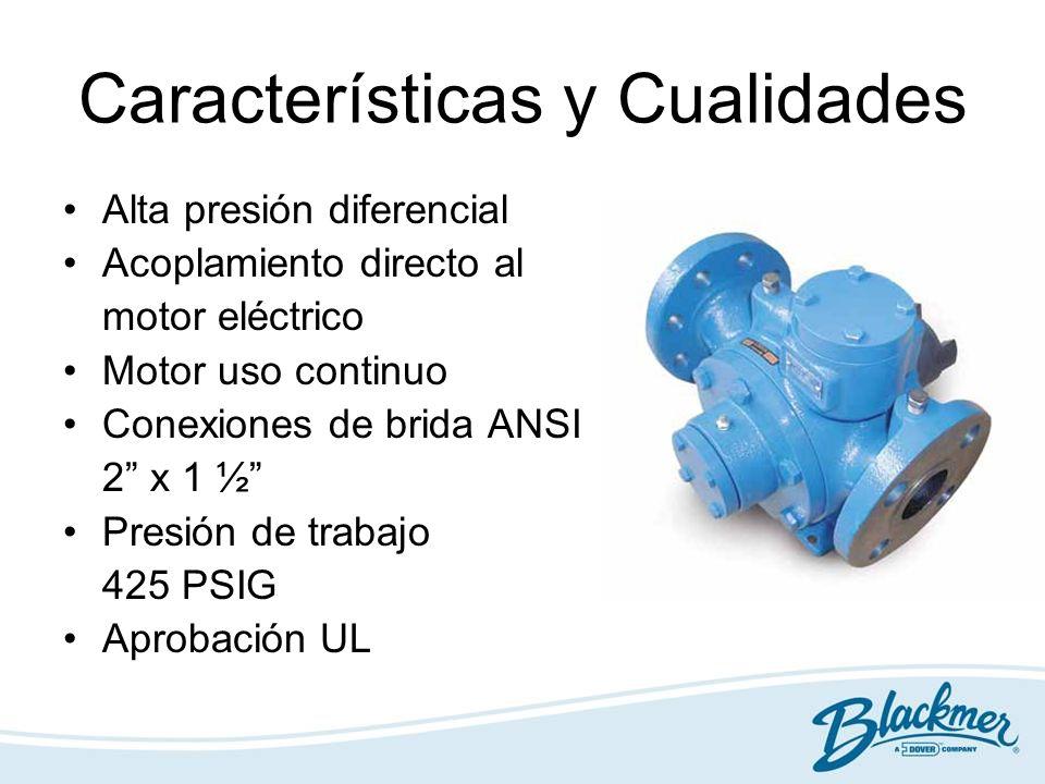 Características y Cualidades Alta presión diferencial Acoplamiento directo al motor eléctrico Motor uso continuo Conexiones de brida ANSI 2 x 1 ½ Pres