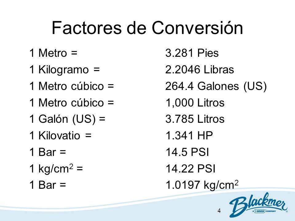 4 Factores de Conversión 1 Metro = 3.281 Pies 1 Kilogramo = 2.2046 Libras 1 Metro cúbico =264.4 Galones (US) 1 Metro cúbico =1,000 Litros 1 Galón (US)