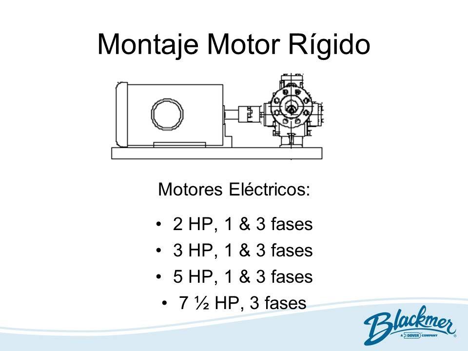 Montaje Motor Rígido Motores Eléctricos: 2 HP, 1 & 3 fases 3 HP, 1 & 3 fases 5 HP, 1 & 3 fases 7 ½ HP, 3 fases