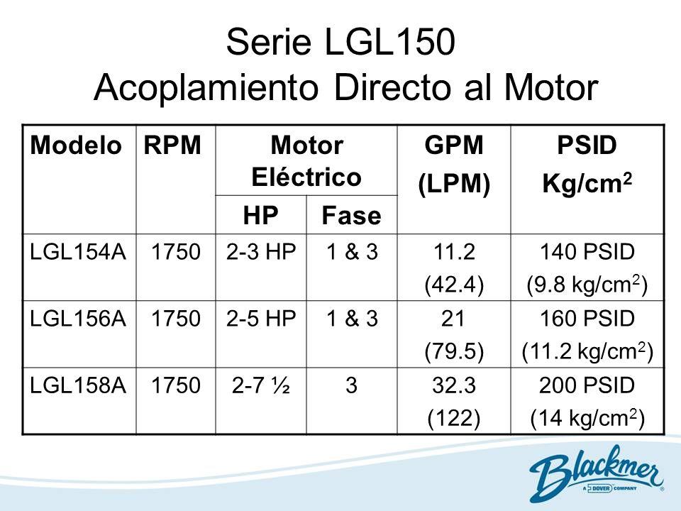 Serie LGL150 Acoplamiento Directo al Motor ModeloRPMMotor Eléctrico GPM (LPM) PSID Kg/cm 2 HPFase LGL154A17502-3 HP1 & 311.2 (42.4) 140 PSID (9.8 kg/c