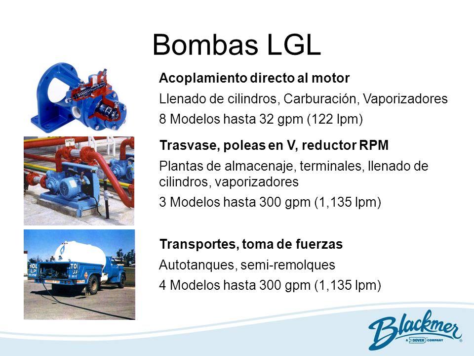 Bombas LGL Acoplamiento directo al motor Llenado de cilindros, Carburación, Vaporizadores 8 Modelos hasta 32 gpm (122 lpm) Trasvase, poleas en V, redu