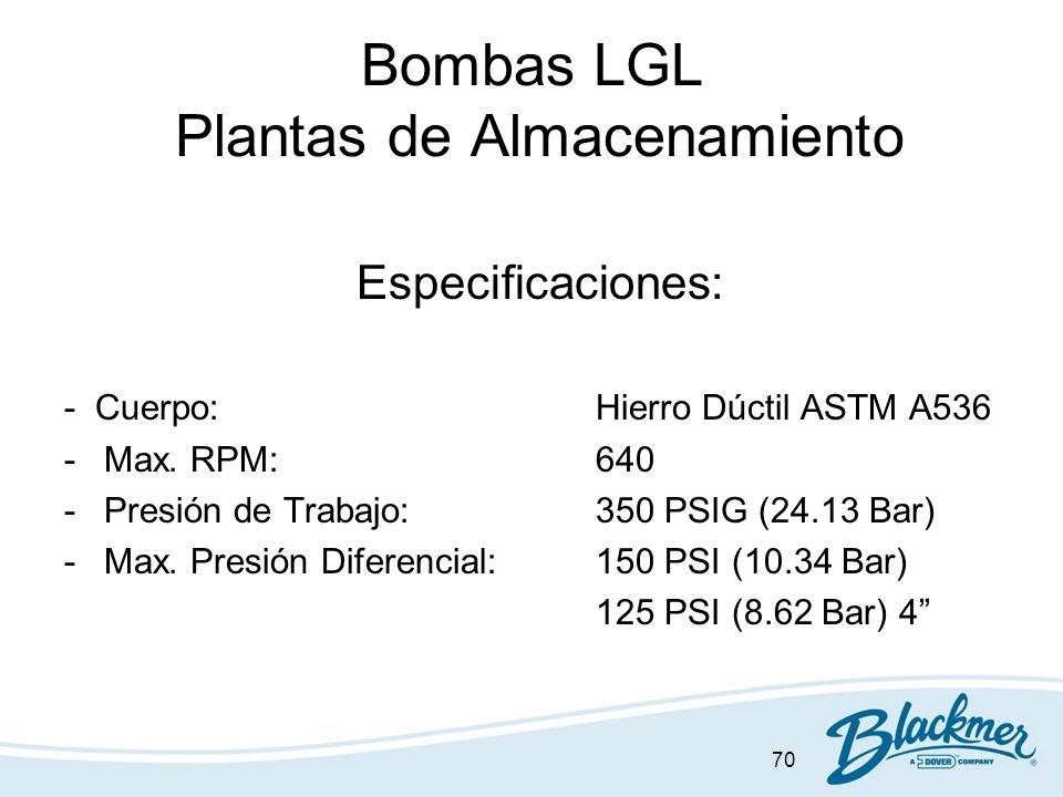 70 Bombas LGL Plantas de Almacenamiento Especificaciones: - Cuerpo:Hierro Dúctil ASTM A536 -Max. RPM:640 -Presión de Trabajo:350 PSIG (24.13 Bar) -Max