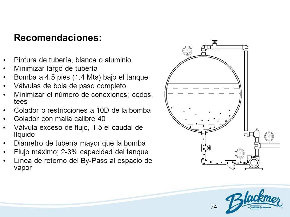 74 Recomendaciones: Pintura de tubería, blanca o aluminio Minimizar largo de tubería Bomba a 4.5 pies (1.4 Mts) bajo el tanque Válvulas de bola de pas