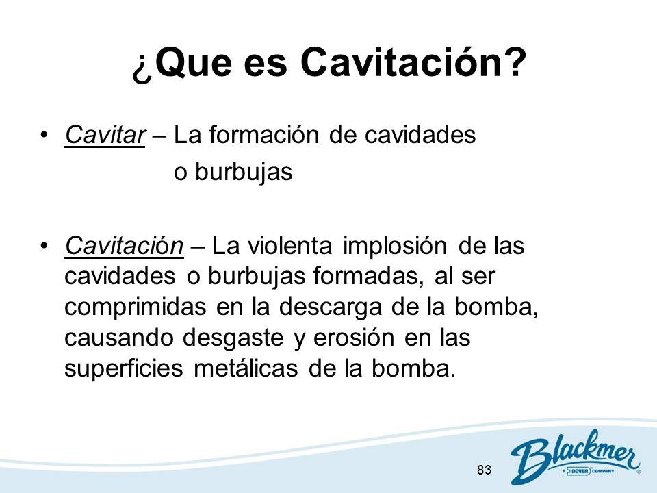 83 ¿Que es Cavitación? Cavitar – La formación de cavidades o burbujas Cavitación – La violenta implosión de las cavidades o burbujas formadas, al ser