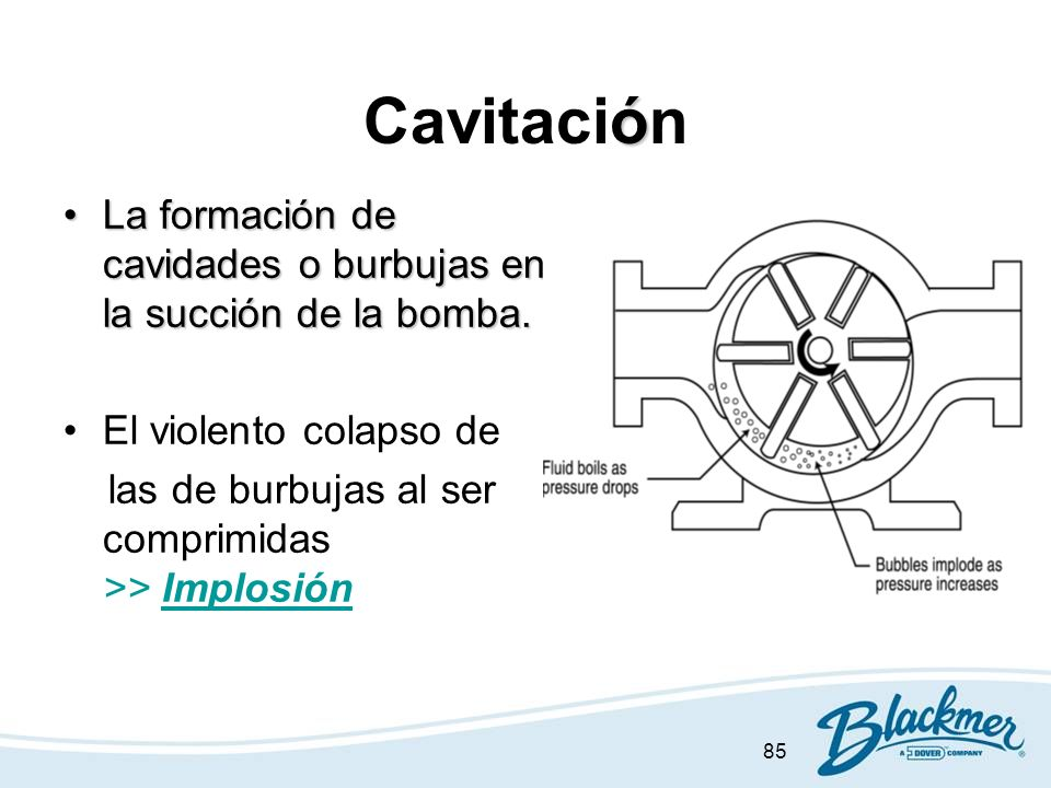 85 ó Cavitación La formación de cavidades o burbujas en la succión de la bomba.La formación de cavidades o burbujas en la succión de la bomba. El viol