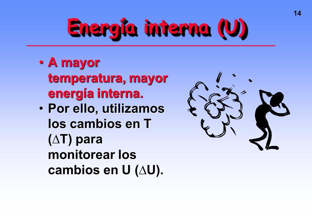 13 Energía interna (U) EP + EC = Energía interna (U)EP + EC = Energía interna (U)