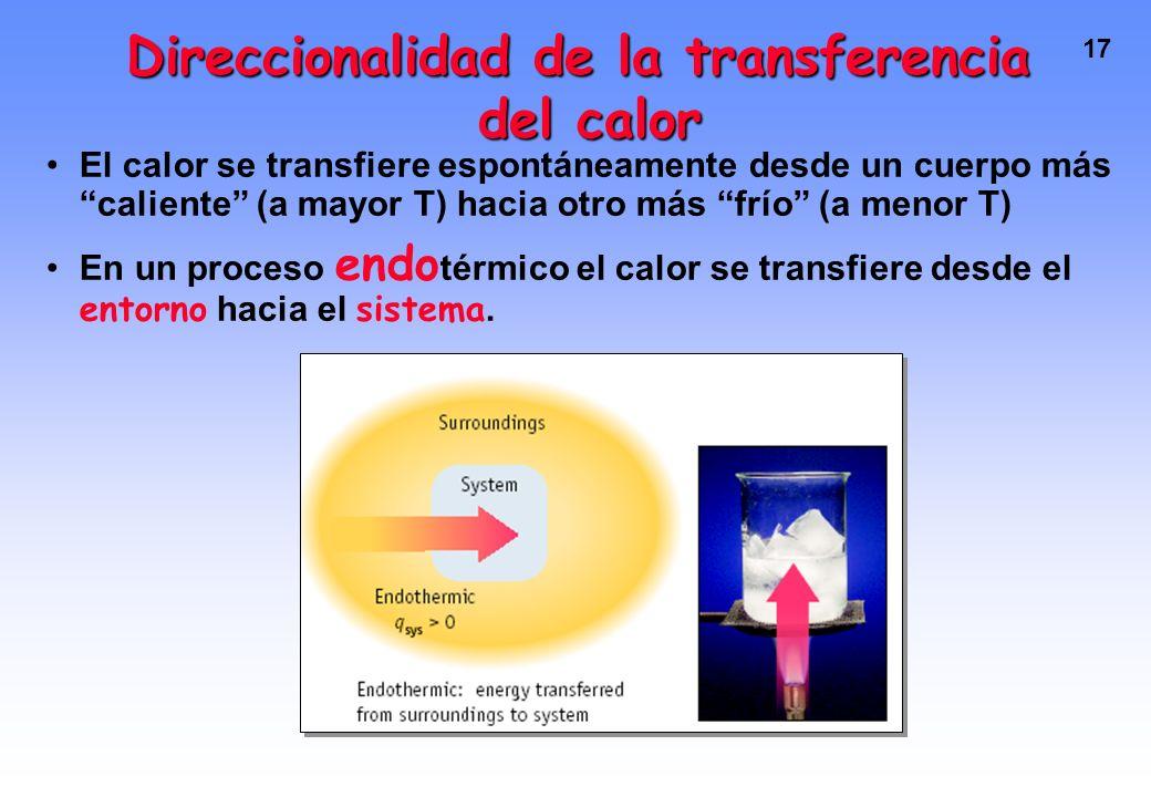 16 Direccionalidad de la transferencia del calor El calor se transfiere espontáneamente desde un cuerpo más caliente (a mayor T) hacia otro más frío (