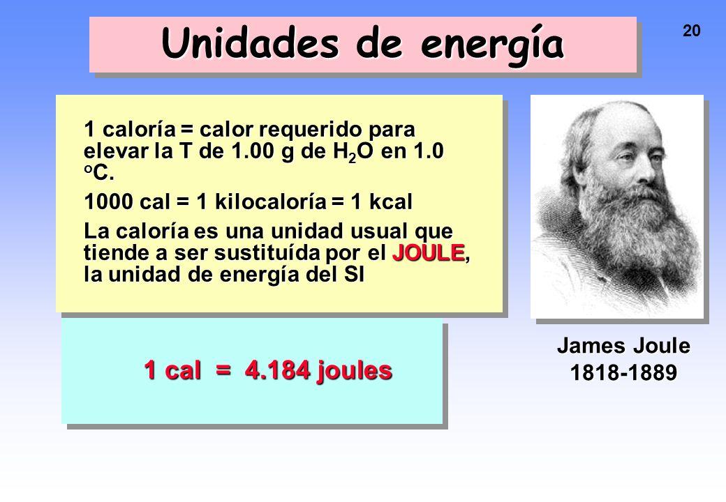 19 Cambios de energía en los procesos químicos La EP del sistema disminuye. La EC aumenta. Por lo tanto, T debe aumentar.