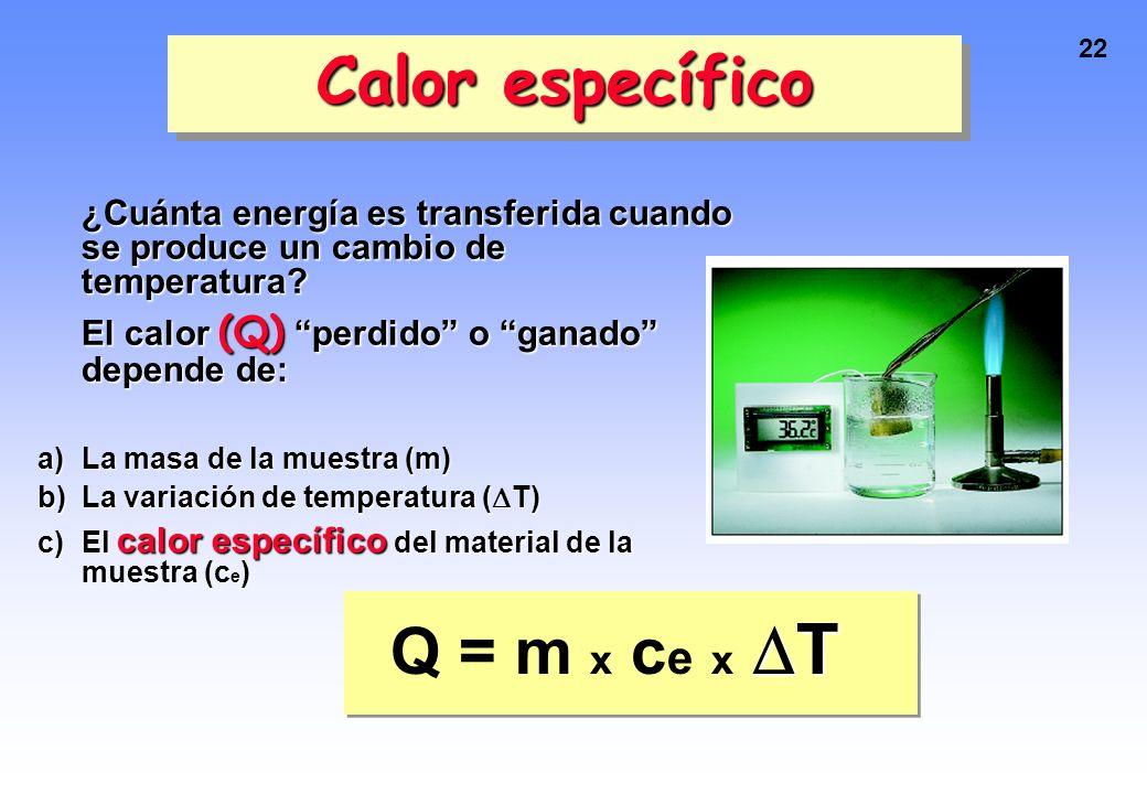 21 CAPACIDAD CALORÍFICA Es el calor requerido para elevar la T de un cuerpo en 1 ˚C. ¿Cuál tiene mayor capacidad calorífica?