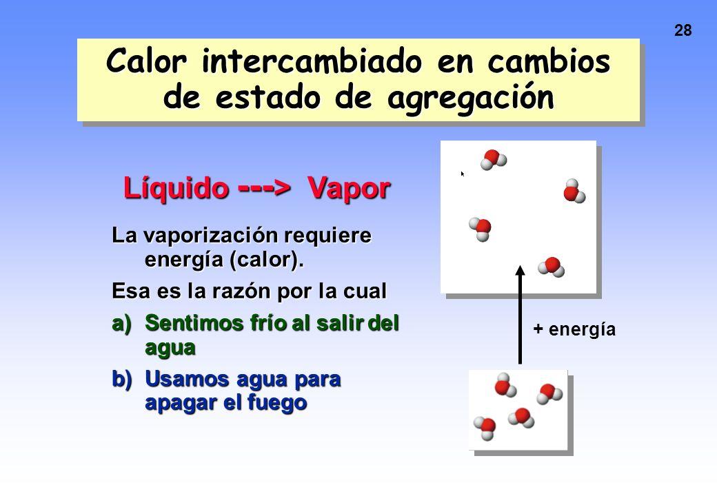 27 Calor intercambiado con cambios en el estado de agregación Involucran transferencia de energía a T constante Hielo + 333 J/g (calor de fusión) ----