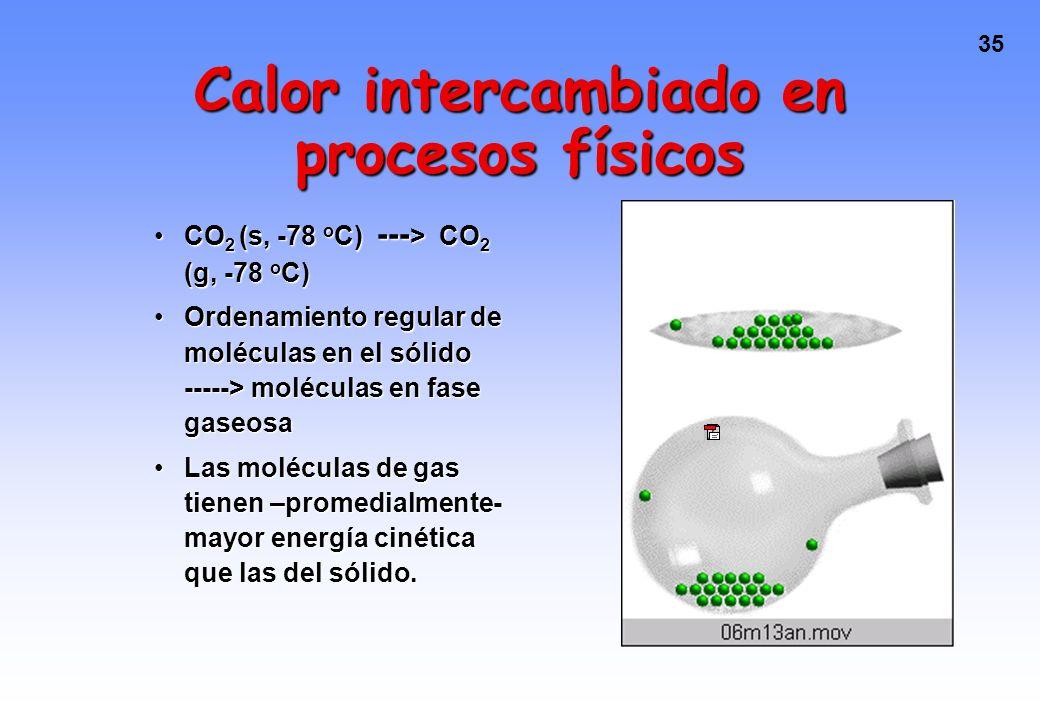 34 Calor intercambiado en procesos físicos CO 2 (s, -78 o C) --- > CO 2 (g, -78 o C) El calor es transferido del entorno al sistema en un proceso endo