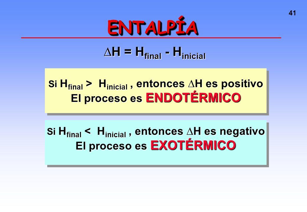 40 ENTALPÍAENTALPÍA La mayoría de las reacciones químicas ocurren a P constante. Por lo tanto: Y como U = H + W (y W suele ser pequeño) H = calor inte