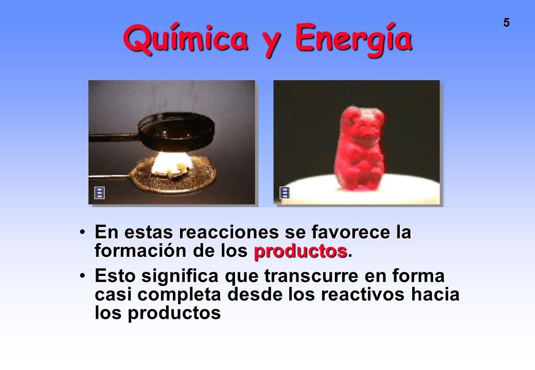 5 Química y Energía En estas reacciones se favorece la formación de los productos.En estas reacciones se favorece la formación de los productos.