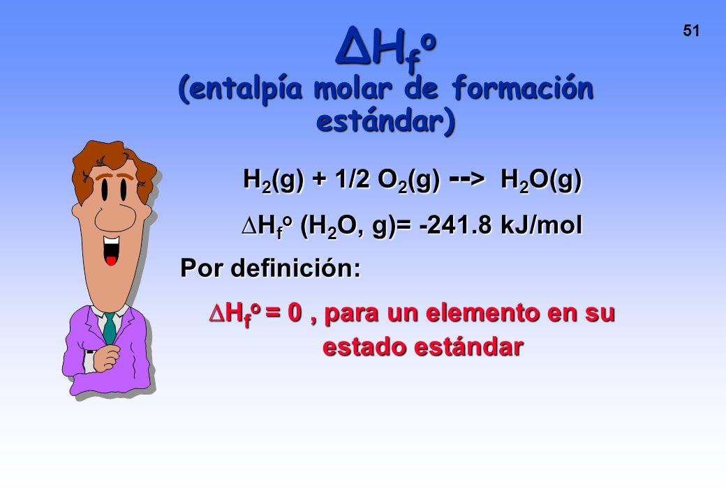 50 H f o (entalpía molar de formación estándar) Es el cambio de entalpía que acompaña la formación de un mol de una sustancia en estado estándar a par