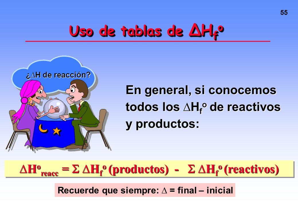 54 Uso de tablas de H f o H 2 O(g) --> H 2 (g) + 1/2 O 2 (g) H o = 242 kJ C(s) + 1/2 O 2 (g) --> CO(g)H o = -111 kJ C(s) + 1/2 O 2 (g) --> CO(g) H o =