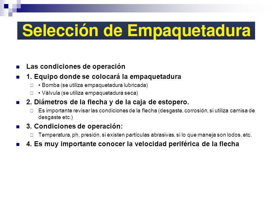 Las condiciones de operación 1. Equipo donde se colocará la empaquetadura Bomba (se utiliza empaquetadura lubricada) Válvula (se utiliza empaquetadura