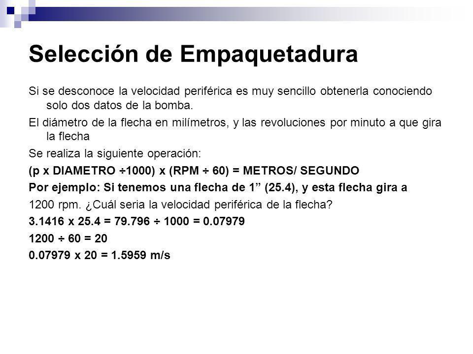 Selección de Empaquetadura Si se desconoce la velocidad periférica es muy sencillo obtenerla conociendo solo dos datos de la bomba. El diámetro de la