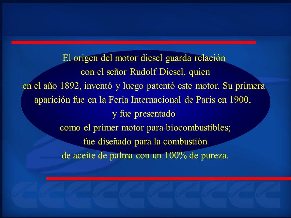 El origen del motor diesel guarda relación con el señor Rudolf Diesel, quien en el año 1892, inventó y luego patentó este motor. Su primera aparición