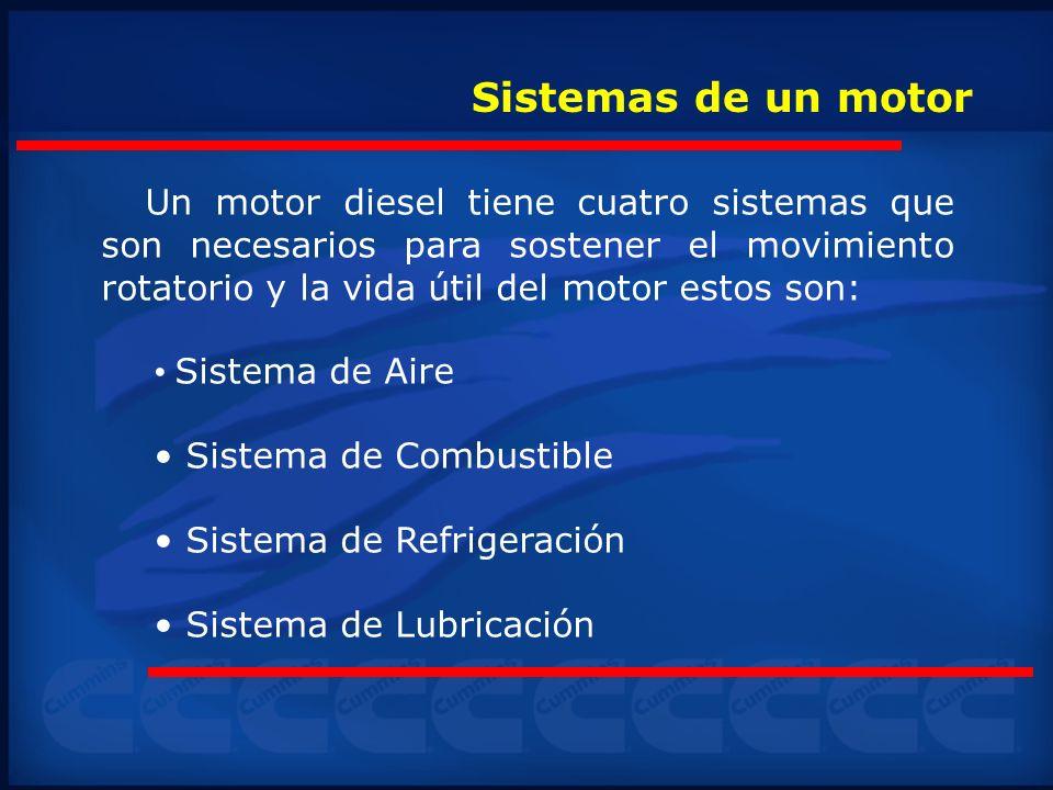 Sistemas de un motor Un motor diesel tiene cuatro sistemas que son necesarios para sostener el movimiento rotatorio y la vida útil del motor estos son