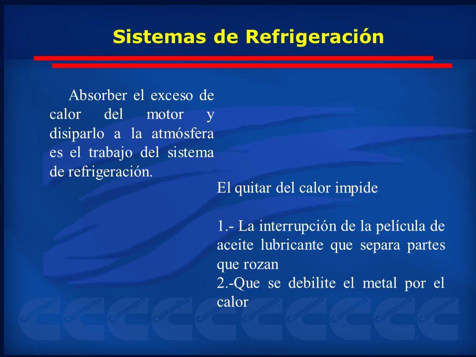 Sistemas de Refrigeración Absorber el exceso de calor del motor y disiparlo a la atmósfera es el trabajo del sistema de refrigeración. El quitar del c