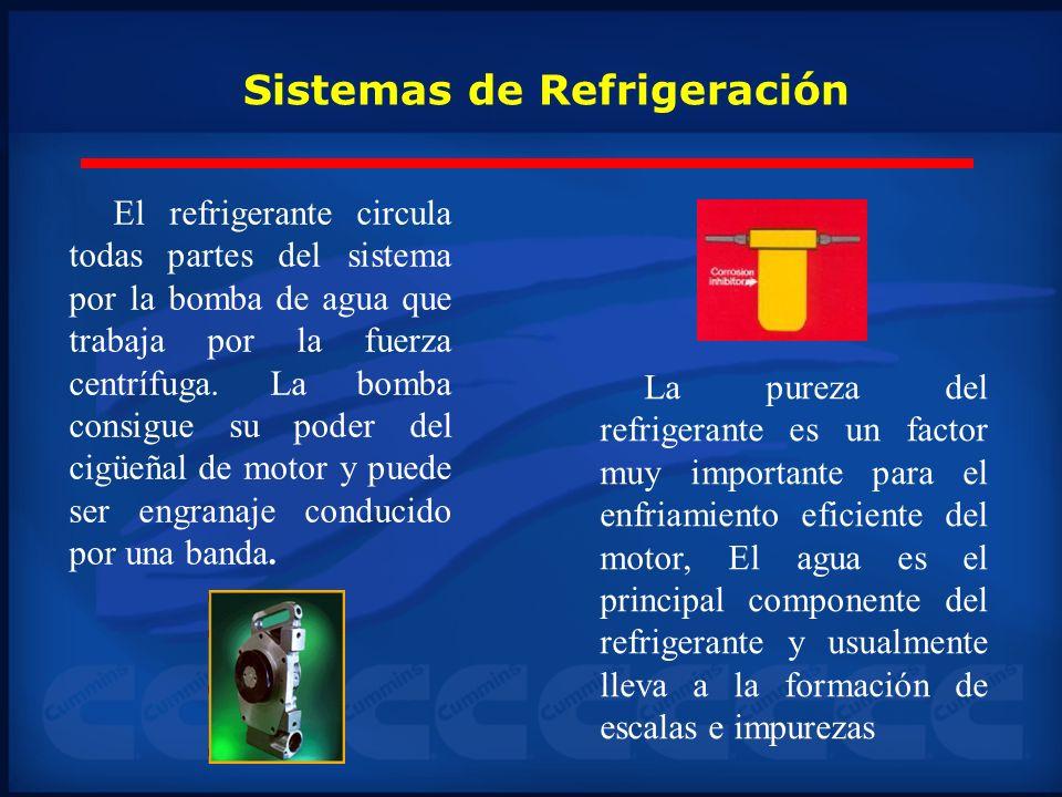 Sistemas de Refrigeración El refrigerante circula todas partes del sistema por la bomba de agua que trabaja por la fuerza centrífuga. La bomba consigu