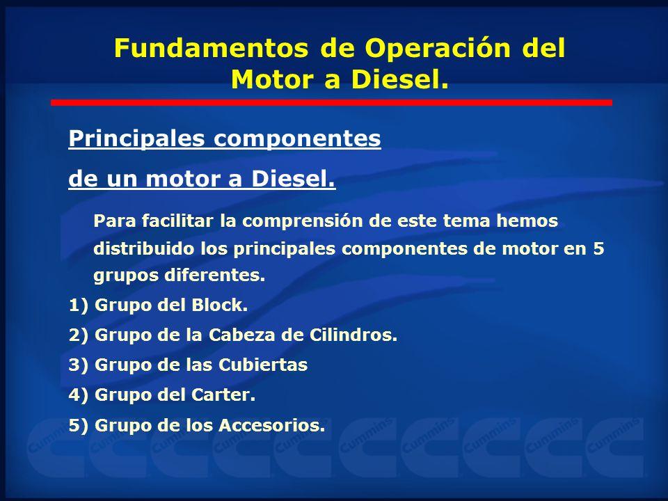 Principales componentes de un motor a Diesel. Para facilitar la comprensión de este tema hemos distribuido los principales componentes de motor en 5 g
