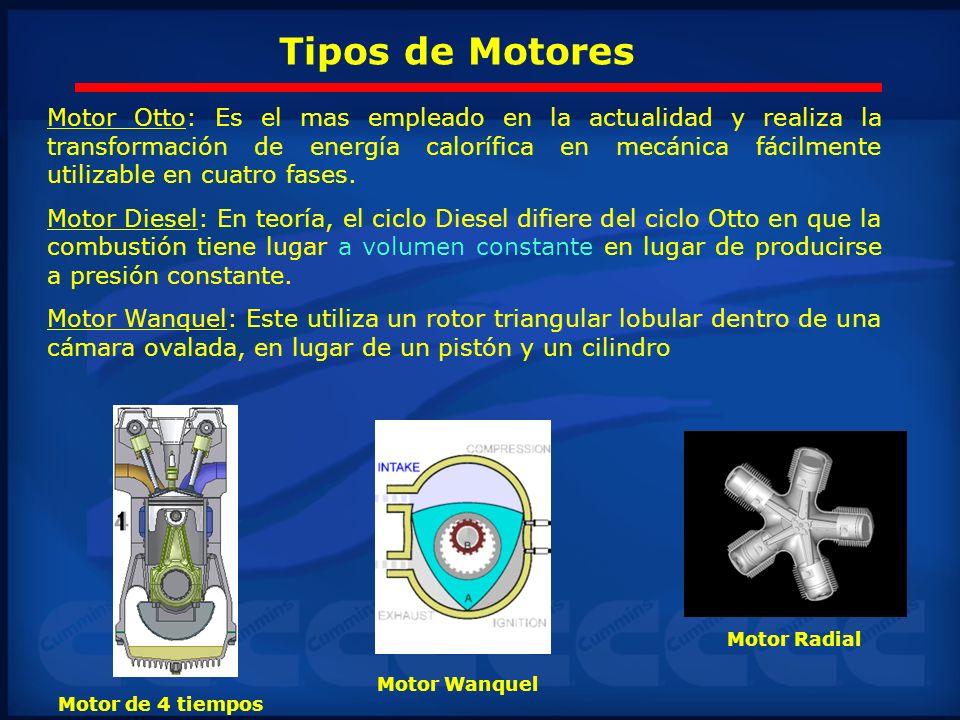 Tipos de Motores Motor Otto: Es el mas empleado en la actualidad y realiza la transformación de energía calorífica en mecánica fácilmente utilizable e