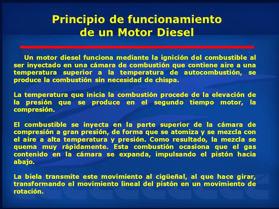 Principio de funcionamiento de un Motor Diesel Un motor diesel funciona mediante la ignición del combustible al ser inyectado en una cámara de combust