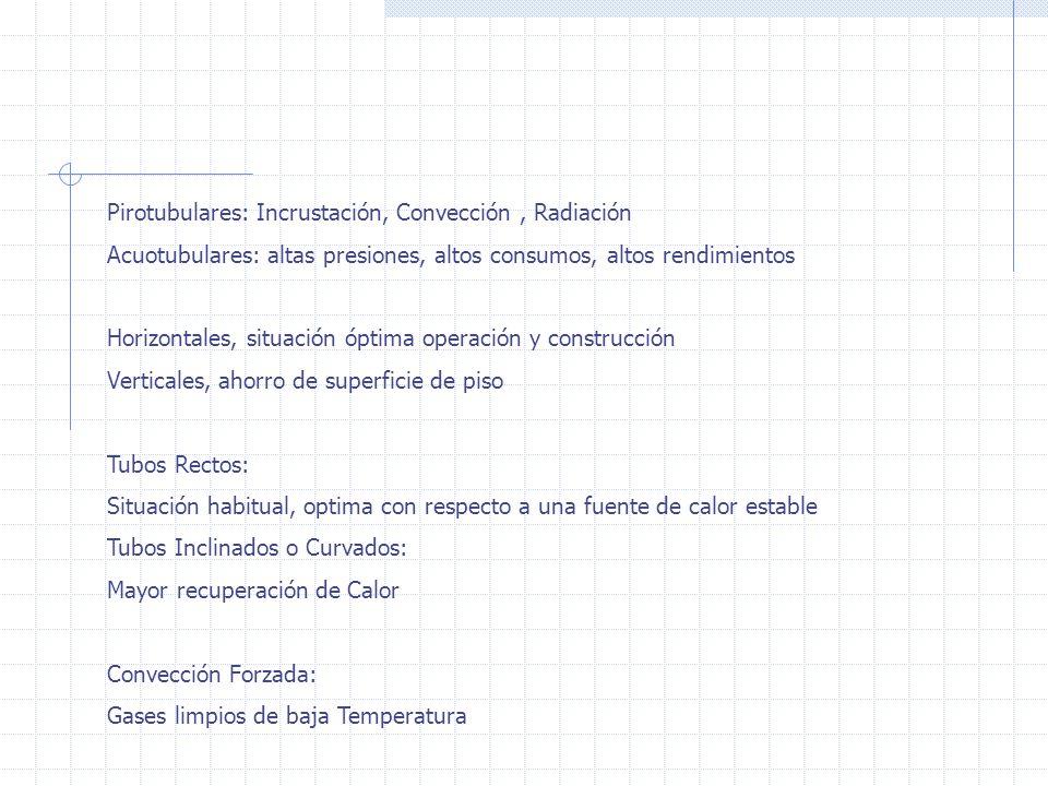 Pirotubulares: Incrustación, Convección, Radiación Acuotubulares: altas presiones, altos consumos, altos rendimientos Horizontales, situación óptima operación y construcción Verticales, ahorro de superficie de piso Tubos Rectos: Situación habitual, optima con respecto a una fuente de calor estable Tubos Inclinados o Curvados: Mayor recuperación de Calor Convección Forzada: Gases limpios de baja Temperatura