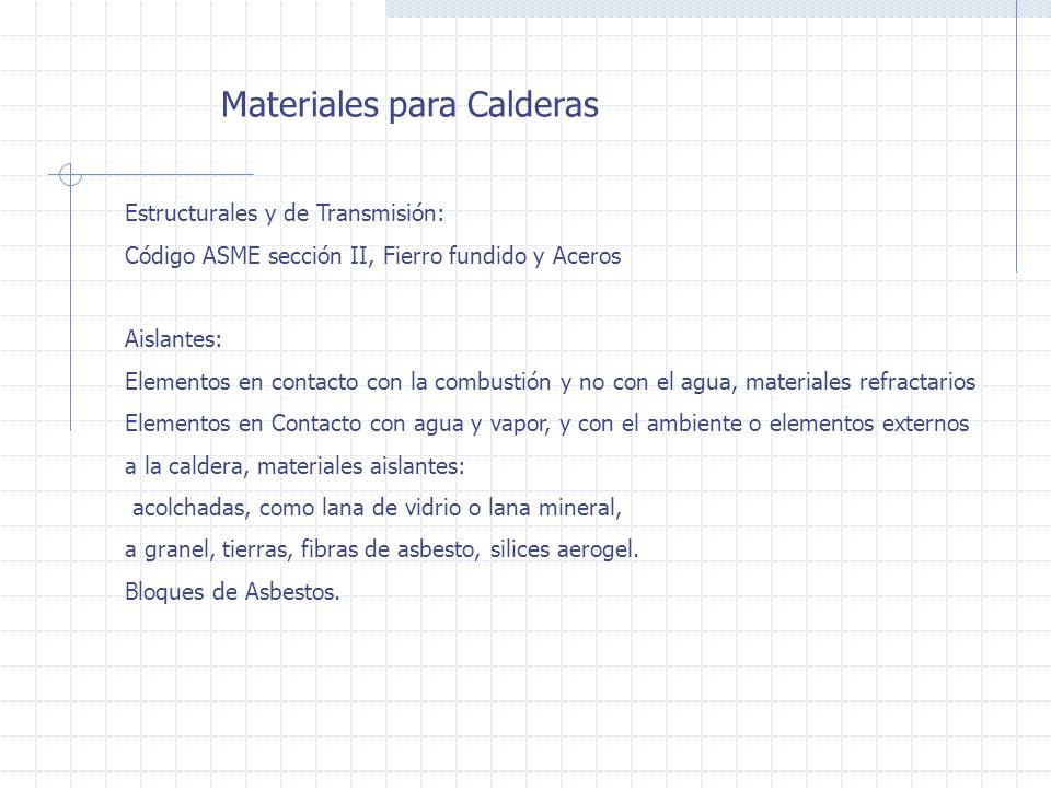 Materiales para Calderas Estructurales y de Transmisión: Código ASME sección II, Fierro fundido y Aceros Aislantes: Elementos en contacto con la combu