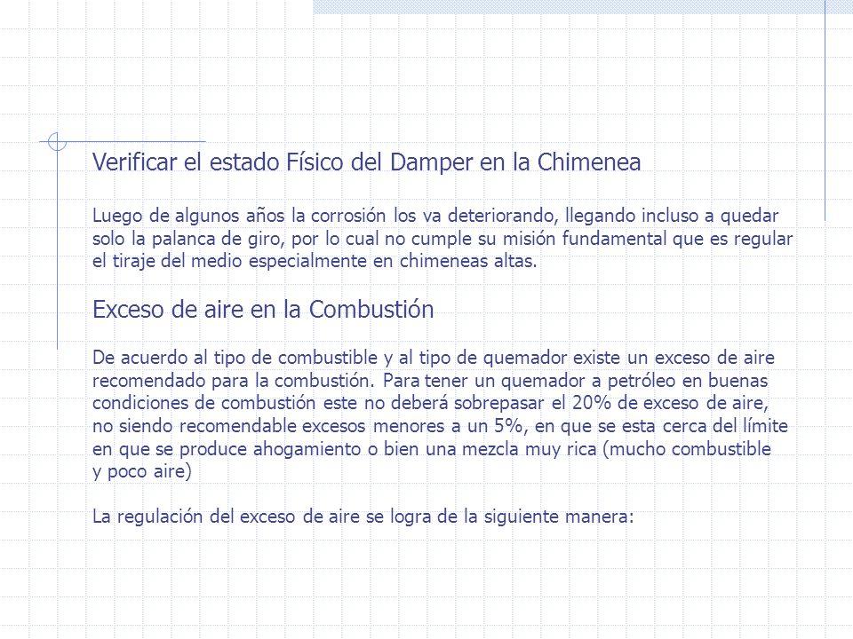 Verificar el estado Físico del Damper en la Chimenea Luego de algunos años la corrosión los va deteriorando, llegando incluso a quedar solo la palanca de giro, por lo cual no cumple su misión fundamental que es regular el tiraje del medio especialmente en chimeneas altas.